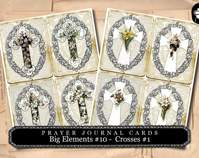 Prayer Journaling - Big Elements #10 - Crosses #1 - 2  Page Instant Download - scripture art, bible journaling kit, printable verses