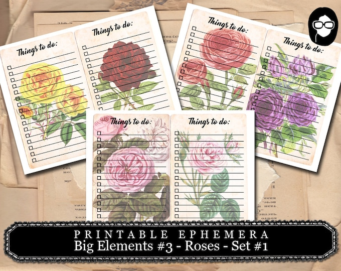 Altered Art Kit - Big Elements #3 Roses #1 - 3 Page Download -  to do list, digital collage, blank journal cards, digital journal kits
