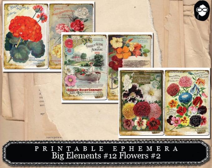 Ephemera Kit - Big Elements # 12 Flowers # 2 - 3 Page Instant Download - floral clipart, smash journal kit, journaling cards, journal cards