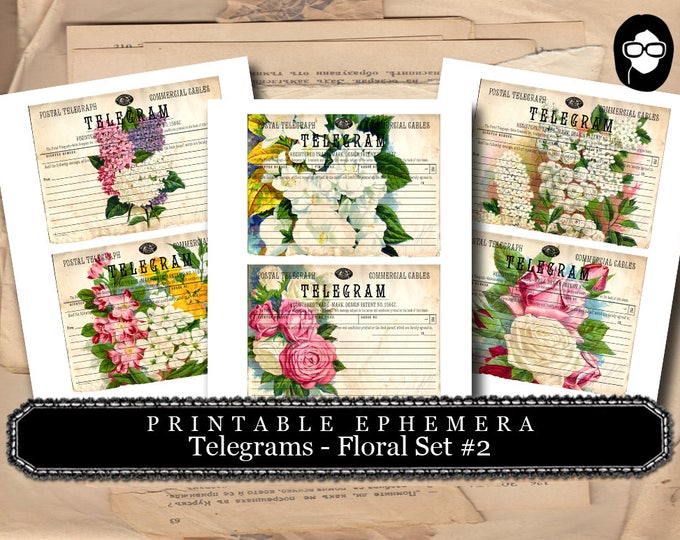 Bouquet Clipart - Telegram Floral Set #2 - 3 Page Instant Download - ephemera pack, altered art kit, junk journal kit, blank journal cards