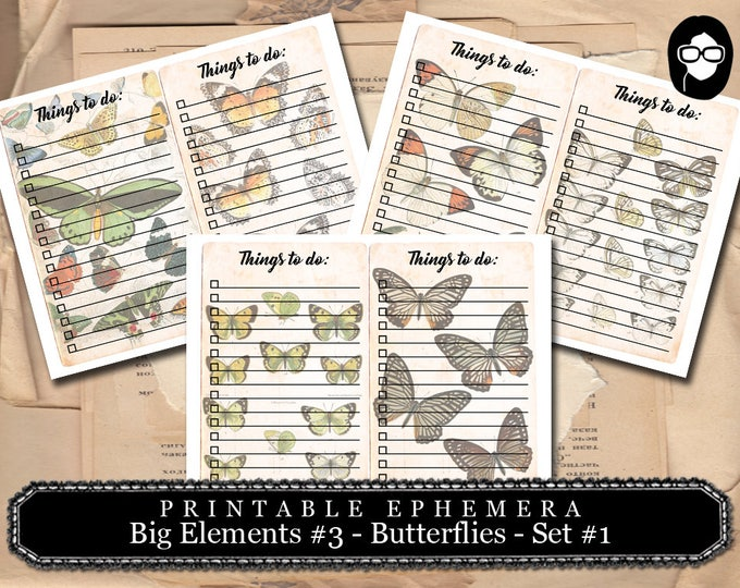 Journaling Cards - Big Elements #3 Butterfly #1 - 3 Pg Download - to do list,  journal cards, digital journal card, floral clipart