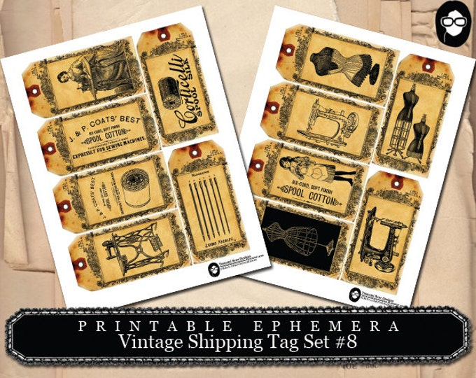 Sewing Printable - Vintage Shipping Tag Collection # 8 Sewing - 2 Page Instant Download - sewing room print, sewing art print, journal card