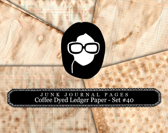Lined Diary Paper- Coffee Dyed Ledger Pages - 20 Pages Instant Downloads, lined paper pack, lined journal paper, distressed, texture