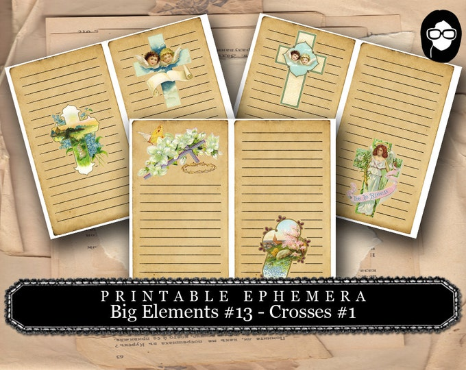 Prayer Journaling - Big Elements #13 - Crosses #1 - 3  Page Instant Download - scripture art, bible journaling kit, printable verses