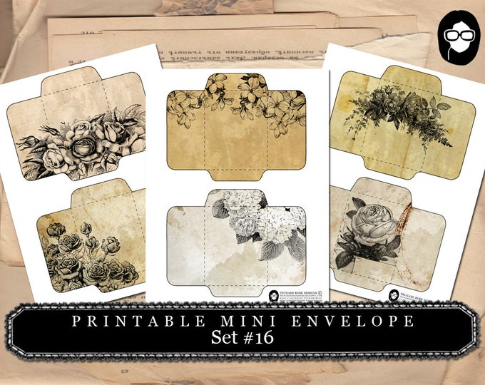 Printable Envelopes - Set #16 - 3 Page Instant download - envelope templates, envelope template, digital roses floral, mini envelopes