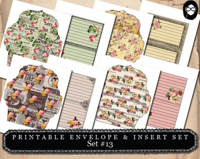 Mini Envelopes & Insert - Set # 13 - 8 Page Instant download - printable envelope, mixed media art kit, clipart floral, roses clipart