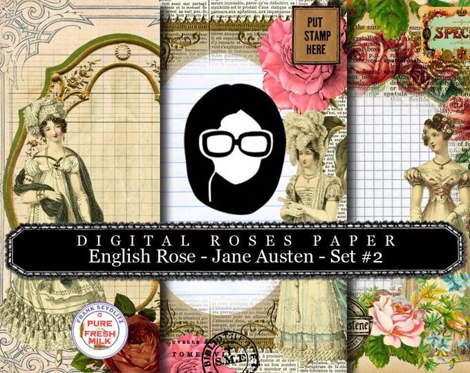 Jane Austen Print - English Rose - Digital Roses Paper - Set #2 - 3 Pg Instant Downloads -  pride and prejudice, jane austen quote, regency