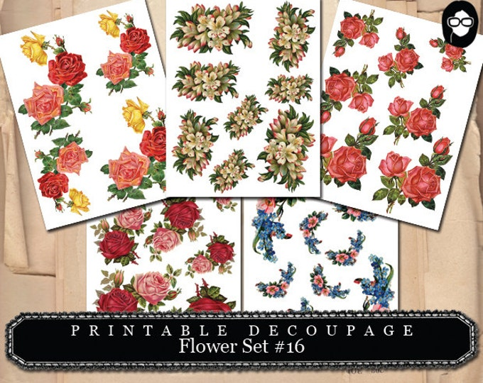 Floral Clipart - Decoupage Flowers Set #16 - 5 Page Instant Download, clipart floral, roses clipart, digital roses floral, bouquet