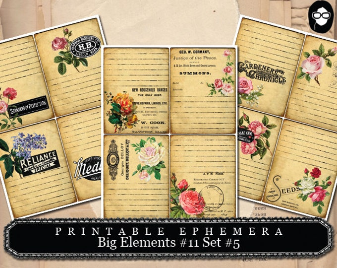 Pink Rose Clipart - Big Elements # 11 Flowers # 5 - 3 Page Instant Download - digital journal card, ephemera pack, ephemera paper pack
