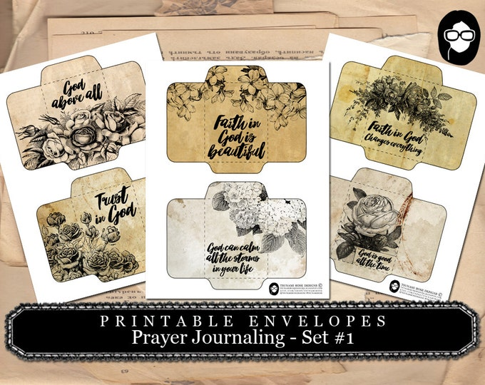 Printable Envelopes - Prayer Journaling Set #1 - 3 Page Instant download - envelope templates, digital roses floral, faith, mini envelopes