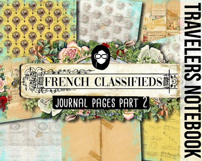Parisian Travelers Notebook - French Classifieds Part 2 - 11 Pg Instant Download - travellers notebook, fauxdori insert, midori print
