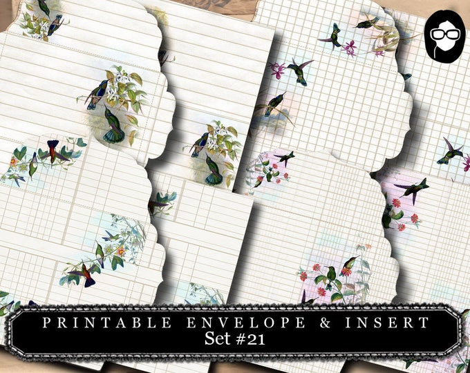 Envelope Template & Insert -  Humming Birds Set # 21 - 8 Page Instant download, printable envelope, mixed media art kit, clipart floral,