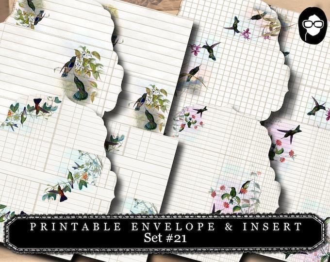 Envelope Template & Insert -  Humming Birds Set # 21 - 8 Page Instant download, printable envelope, mixed media art kit, clipart floral,