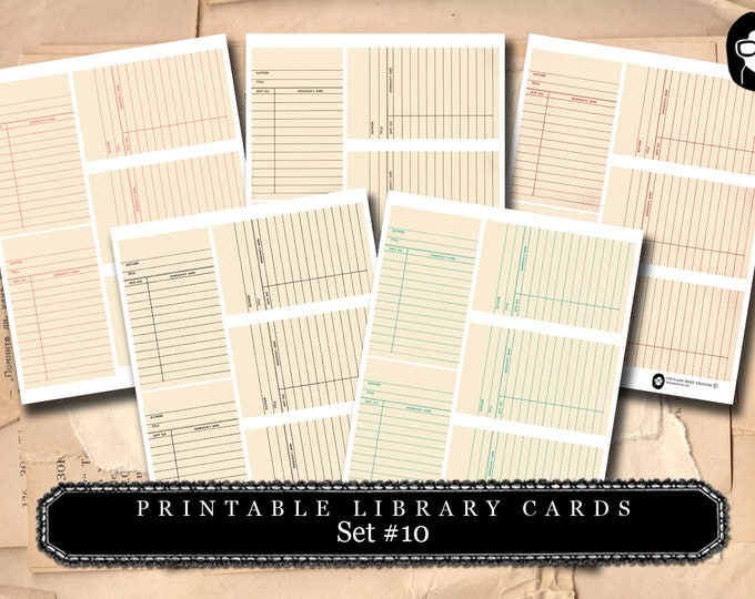 Library Cards 2 Set #10- 5 Page Instant Download- paper ephemera kit, journaling cards, ephemera pack, altered art kit, roses clipart