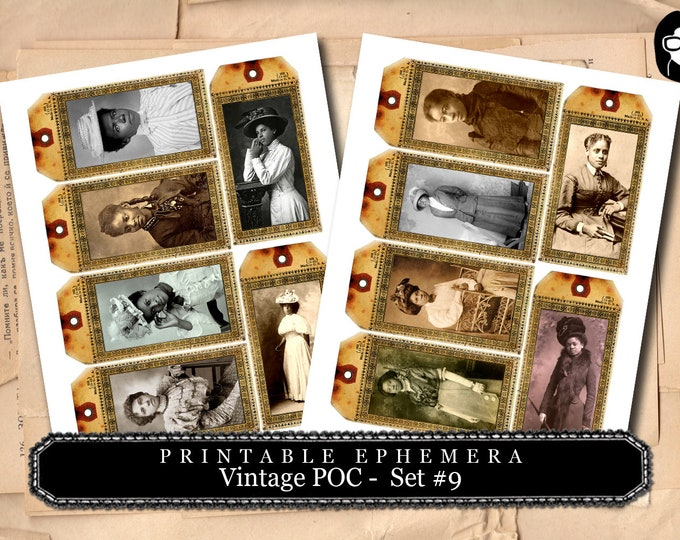 Vintage Shipping Tag - Vintage Women of Color - Set #9- 2 Page Instant Download, digital journal card, poc, gift tags