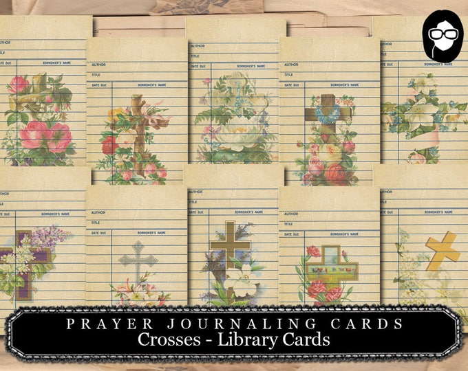 Prayer Journaling - Crosses Library Cards - 2  Page Instant Download - scripture art, bible journaling kit, printable verses, journal cards