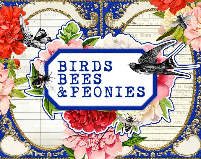 PRE-ORDER -  Birds Bees & Peonies - 36 Pgs - Junk Journal Kit, Add On Pages, Ephemera, Tn Journal Kit, TN Add On Pages
