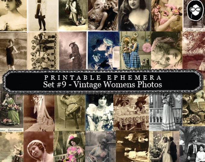 Ephemera Pack, Printable Ephemera Set # 9 - Vintage Womens Photos - 20 Page Instant Download, journaling kit, journal cards, journaling card