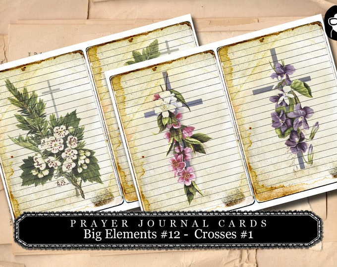 Prayer Journaling - Big Elements #12 - Vintage Crosses #1 - 2 Page Instant Download - scripture art, bible journaling kit, printable verses