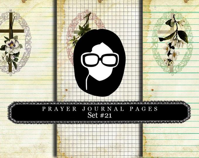 Bible Journaling Kit - Bible Verse Set #21 - 3 Pg Instant Downloads - vintage crosses, bible verses diy, prayer journaling, scripture art