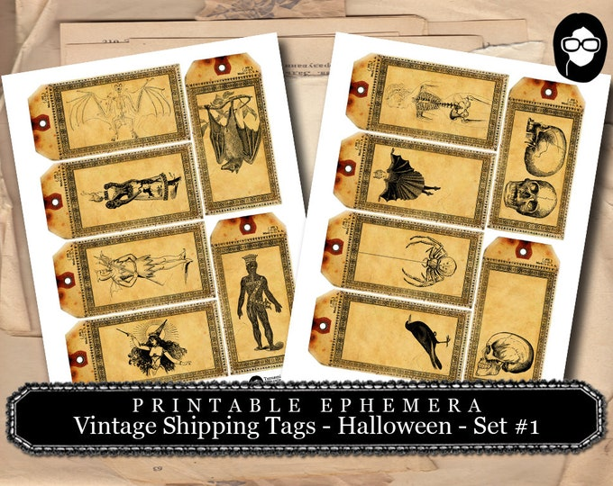 Halloween Cliparts - Vintage Shipping Tags Halloween Set # 1 - 2 Page Instant Download -  spooky digital paper, journaling cards, gift tag