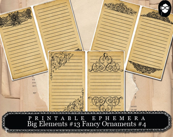 Flourish Print - Big Elements # 13 Fancy Ornaments # 4 - 3 Page Instant Download - digital flourish, flourish clipart, journaling cards