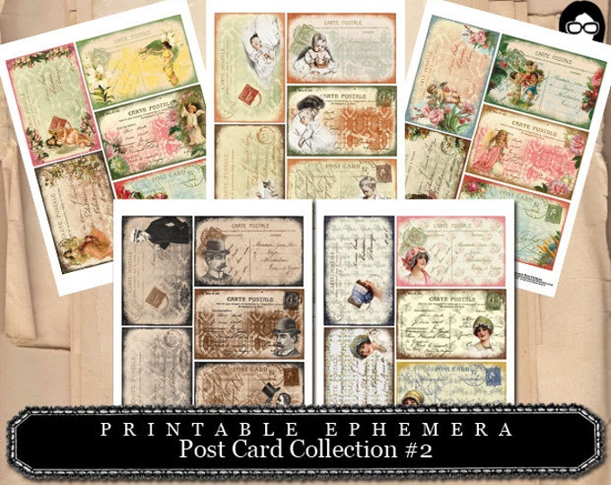 Art Journal Card- PostCards Collection # 2 - 5 Page Instant Download - ephemera paper pack, journaling kit, journal cards, ephemera kit