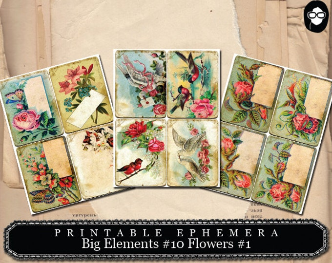 Mixed Media Art Kit - Big Elements #10 Flowers #1 - 3 Pg Instant Download - clipart floral, roses clipart, digital roses floral, note cards