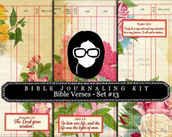Prayer Journaling - Bible Verse Set #13 - 3 Pg Instant Downloads - digital rose paper, bible verses diy, scripture art, bible journaling kit