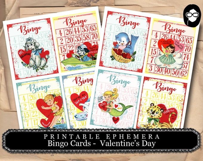 Valentine's Day Bingo Cards - 2 Pg Instant Download - bingo digital roses floral, project life kit, mixed media art kit, junk journal supply