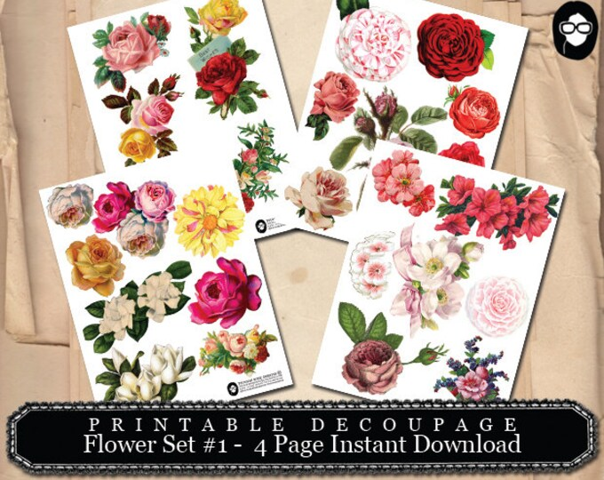 Roses Clipart - Decoupage Flowers Set #1- 4 Page Instant Download -  floral clipart, floral png clipart, png floral clipart, clipart floral