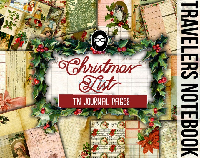 Travelers Notebook - Christmas List Journal Pages - 17 Printable Midori Insert Pages- travellers notebook, fauxdori insert, junk journal kit
