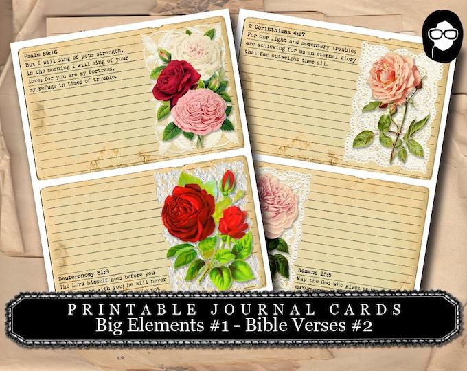 Printable Verses - Big Elements #1 - Bible Verses #2 - 2  Page Instant Download - bible verses diy, prayer journaling, scripture printable