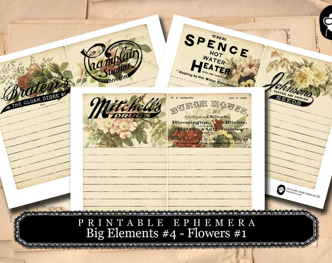 Journal Cards - Big Elements #4 - Flowers #3 - 2 Pg Instant Download - digital journal card, digital download for junk journal