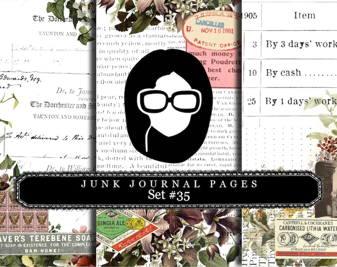 Lined Diary Paper- Junk Journal Pages #35 - 3 Pages Instant Downloads, lined paper pack, lined journal paper, flourish