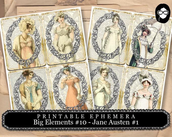 Pride And Prejudice - Big Elements #10 - Jane Austen Set #1 - 2 Page Instant Download - jane austen quote, journal cards, jane austen print