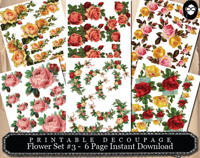 PNG Floral Clipart - Decoupage Flowers Set #3 - 6 Page Instant Download - pink rose clipart, bouquet clipart, roses flower clipart