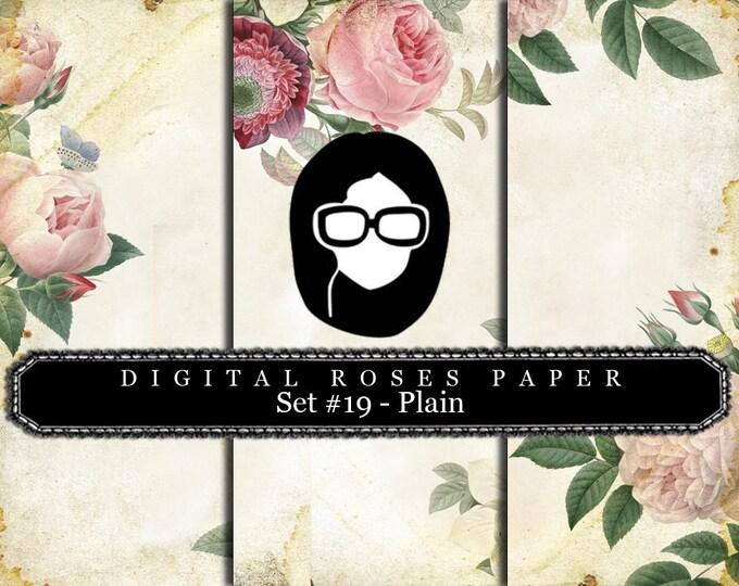 Rose Paper Digital - Set #19 - Plain - 3 Pg Instant Downloads - digital rose paper, floral digital paper, digital paper pack