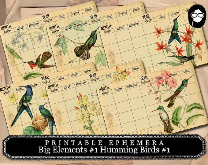 Printable Calendar - Big Elements #1 Hummingbird Calendar #1 - 3 Pg Instant Download - ephemera paper pack, journaling kit, art journal card