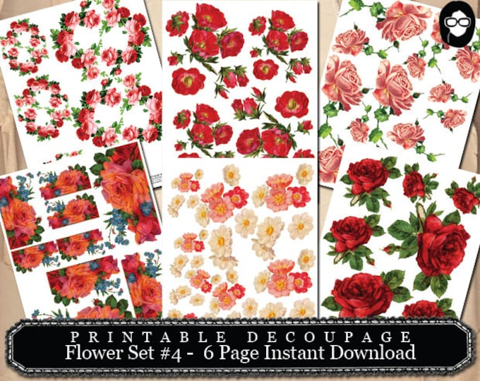 Roses Flower Clipart - Decoupage Flowers Set # 4- 6 Page Instant Download -  floral png clipart,  png floral clipart, clipart floral