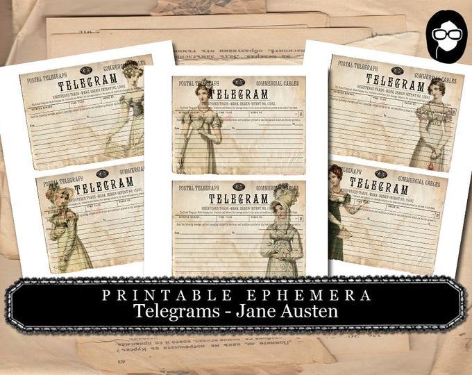 Pride And Prejudice - Telegram - Jane Austen #1 - 2 Page Instant Download - jane austen print, jane austen quote, journal cards, telegraph