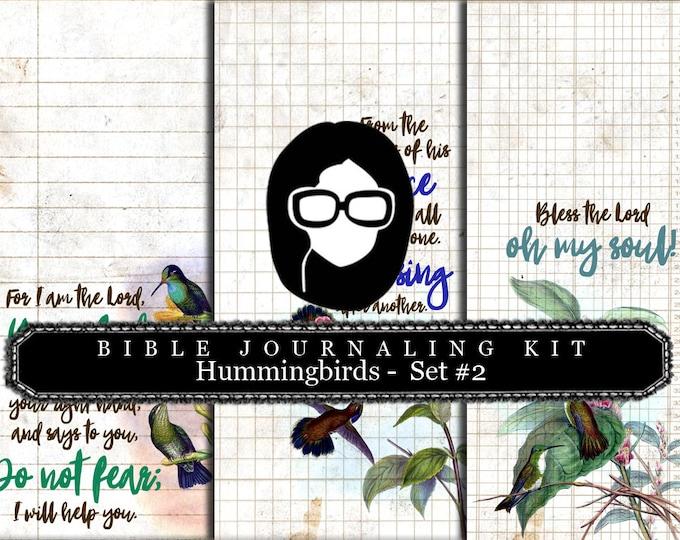 Prayer Journaling - Hummingbirds Set #2 - 3 Pg Instant Downloads - digital rose paper, bible verses diy, scripture art, bible journaling kit