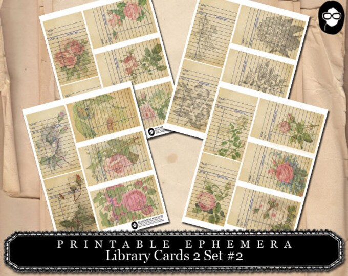 Roses Clipart Floral - Library Cards 2 Set #2- 4 Page Instant Download- paper ephemera kit, journaling cards, ephemera pack, altered art kit