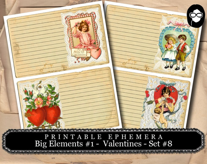 Valentine Theme - Big Elements #1  Set #8 - Valentine's Day - 2 Page Instant Download - junk journal supply, project life kit