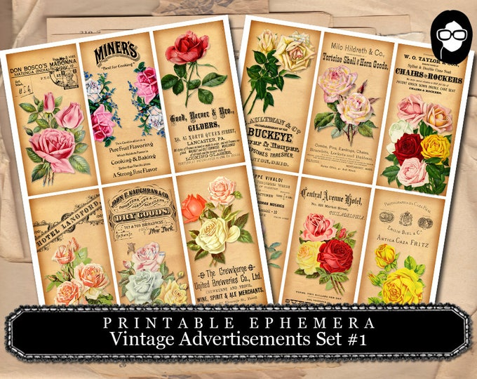 Art Journal Card - Vintage Ads #1 - 2  Page Instant Download - journal cards, digital journal card, ephemera pack, pink rose clipart