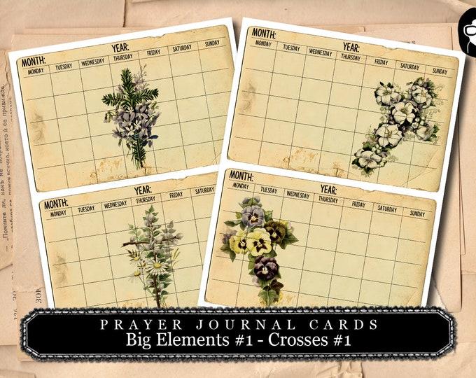 Printable Verses - Big Elements #1 - Vintage Crosses #2 - 2 Page Instant Download - bible verses diy, prayer journaling, scripture printable