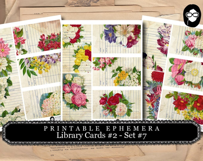 Digital Roses Floral - Library Card Collection # 7 - 3 Page Instant Download - project life kit, mixed media art kit, junk journal supply