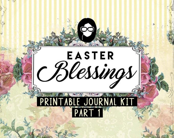 Bible Journaling Kit - Easter Blessings P1 - 16 Journal Refill Pg printable diary pack floral digital paper scripture art Junk Journal kit