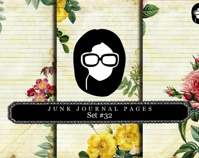 Lined Paper Pack - Junk Journal Pages Set #32 - 3 Pages Instant Downloads, lined diary paper , lined journal paper, flourish