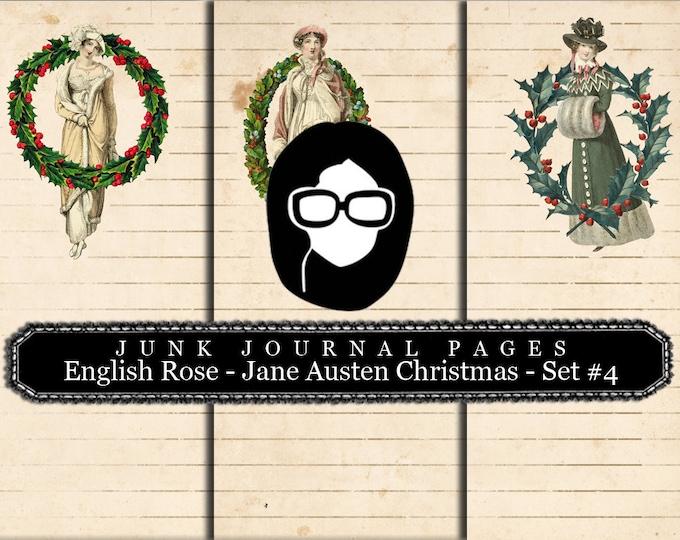 Jane Austen Christmas Journal Pages Set #4 LINED - 3 Pg Instant Downloads -  sense and sensibility pride and prejudice,  regency